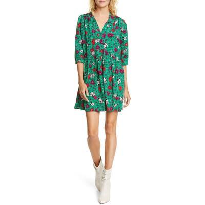 Ba & sh Pascou Floral Babydoll Dress, Green
