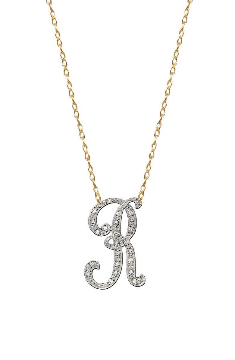 JANE BASCH DESIGNS Diamond Initial Pendant Necklace, Main, color, GOLD R