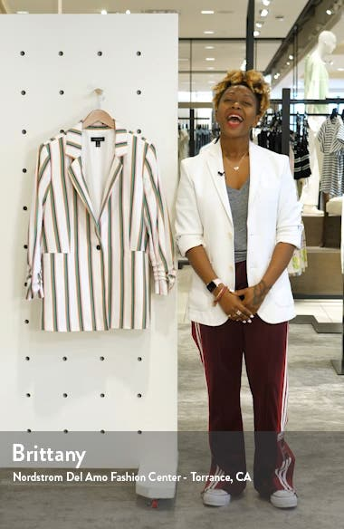 Ruched Sleeve Stripe Blazer, sales video thumbnail