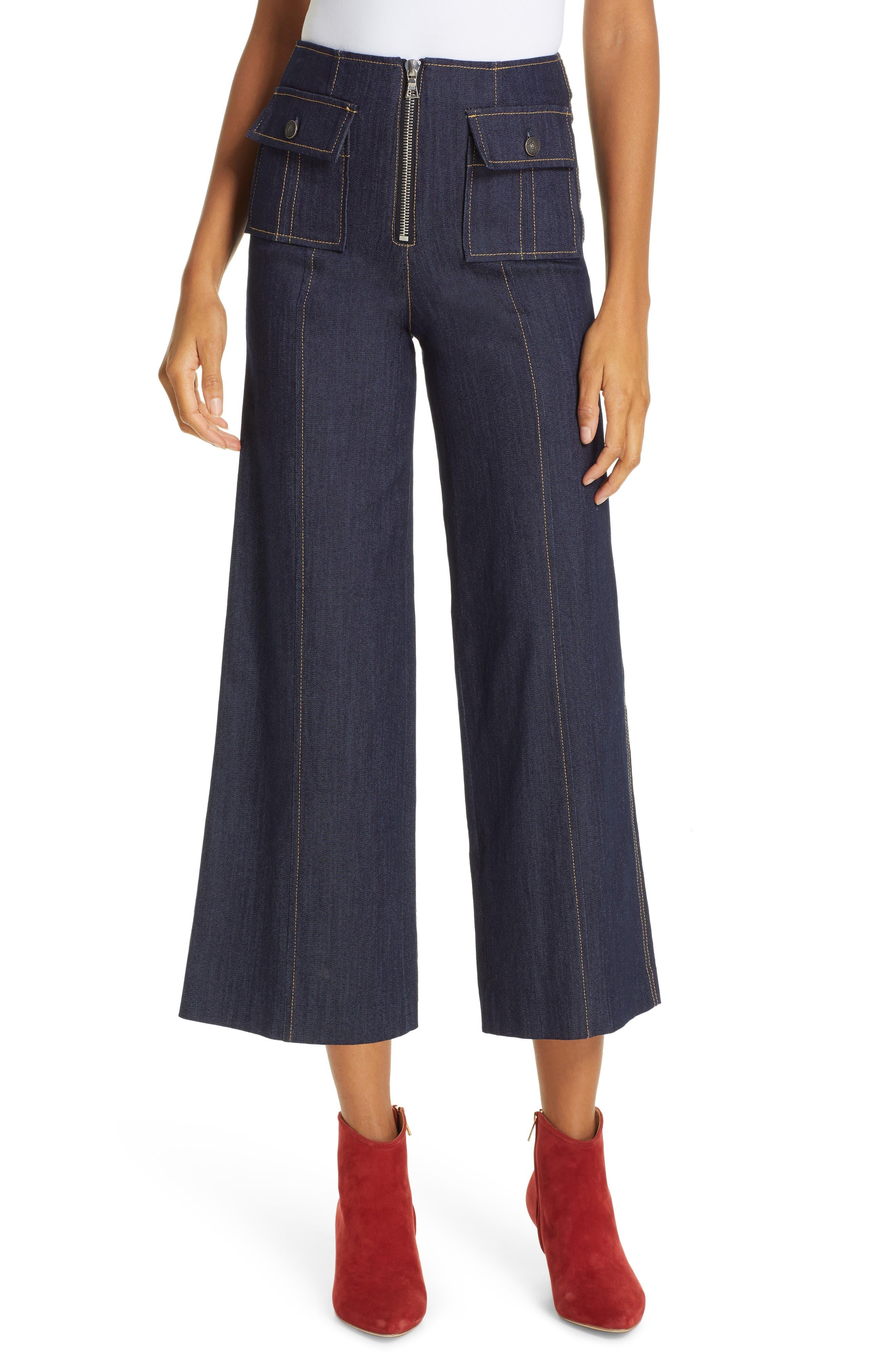 Women's Cinq A Sept Azure Crop Wide Leg Jeans,  10 - Blue