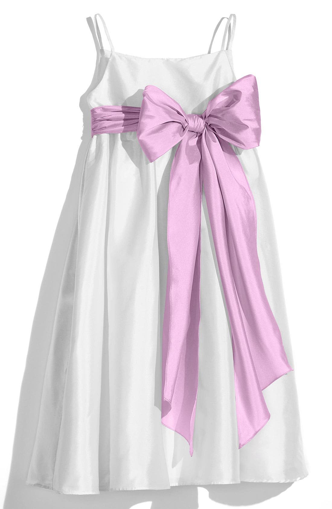 ,                             White Sleeveless Empire Waist Taffeta Dress,                             Main thumbnail 4, color,                             101