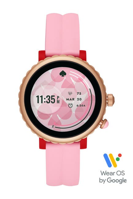 Image of kate spade new york women's pink silicone scallop sport smartwatch, 42mm