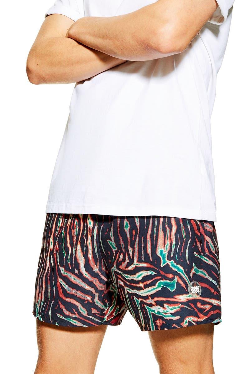 TOPMAN Tiger Print Swim Shorts, Main, color, ORANGE MULTI