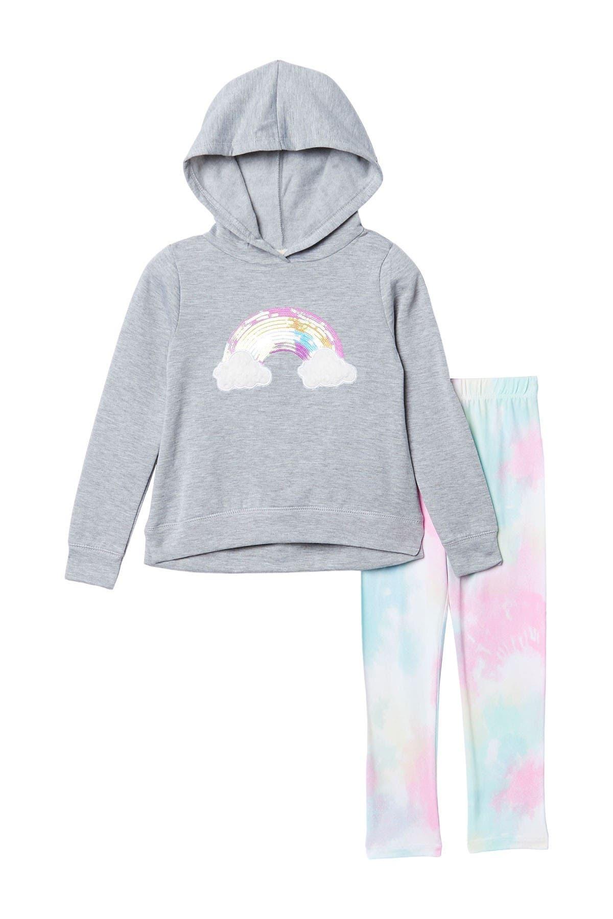 Image of Btween Rainbow Tie-Dye Fleece Hoodie & Leggings Set