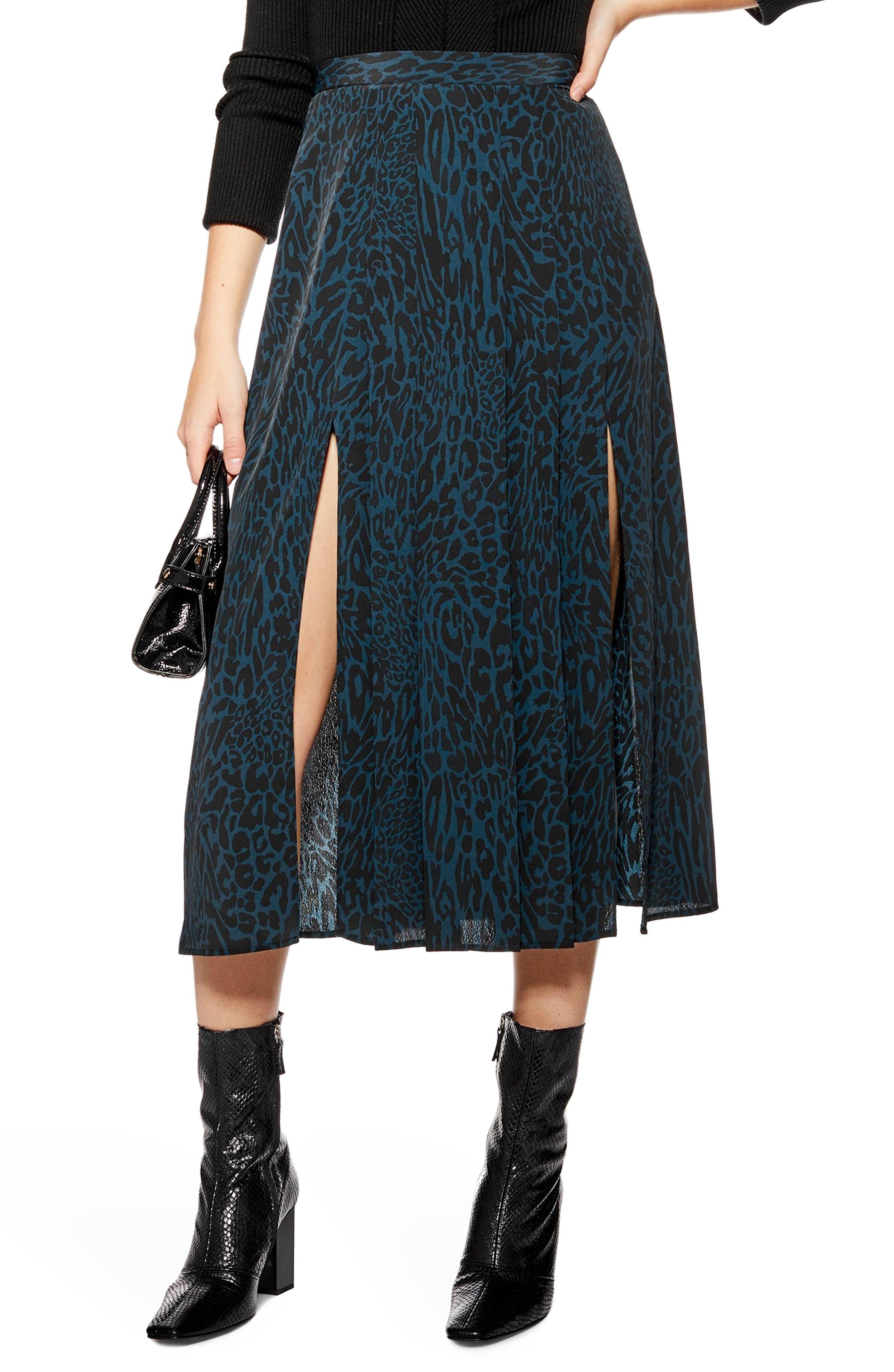 ,                             Box Pleat Midi Skirt,                             Main thumbnail 1, color,                             BLUE MULTI