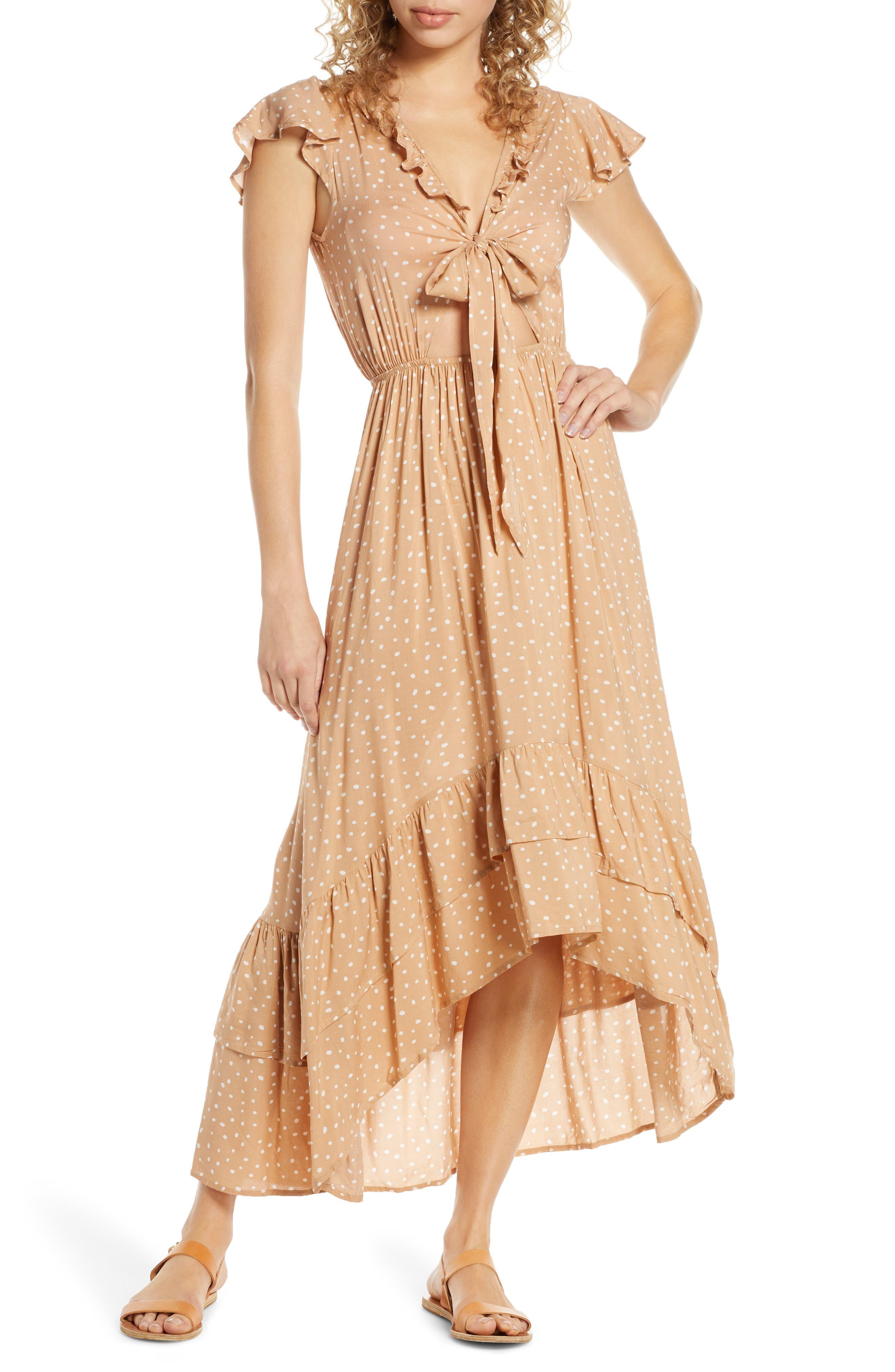 Surf Gypsy Distress Diamond High/low Cover-Up Dress, Metallic