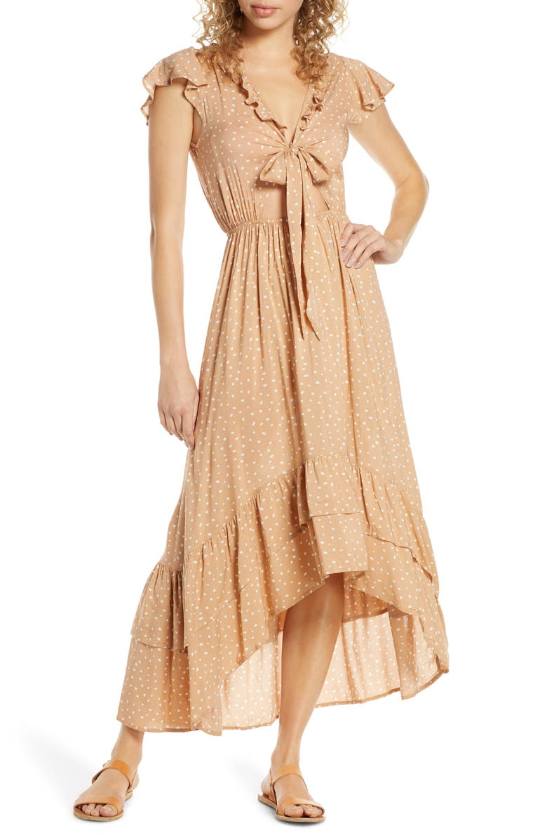 SURF GYPSY Distress Diamond High/Low Cover-Up Dress, Main, color, CARAMEL