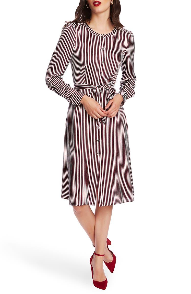COURT & ROWE Crosby Stripe Long Sleeve Shirtdress, Main, color, SOFT ECRU