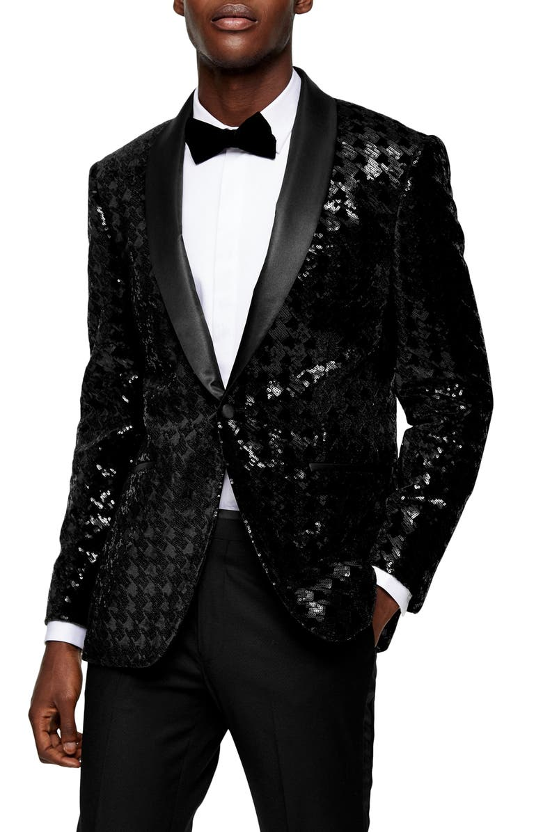 TOPMAN Sequin Skinny Fit Suit Blazer, Main, color, BLACK