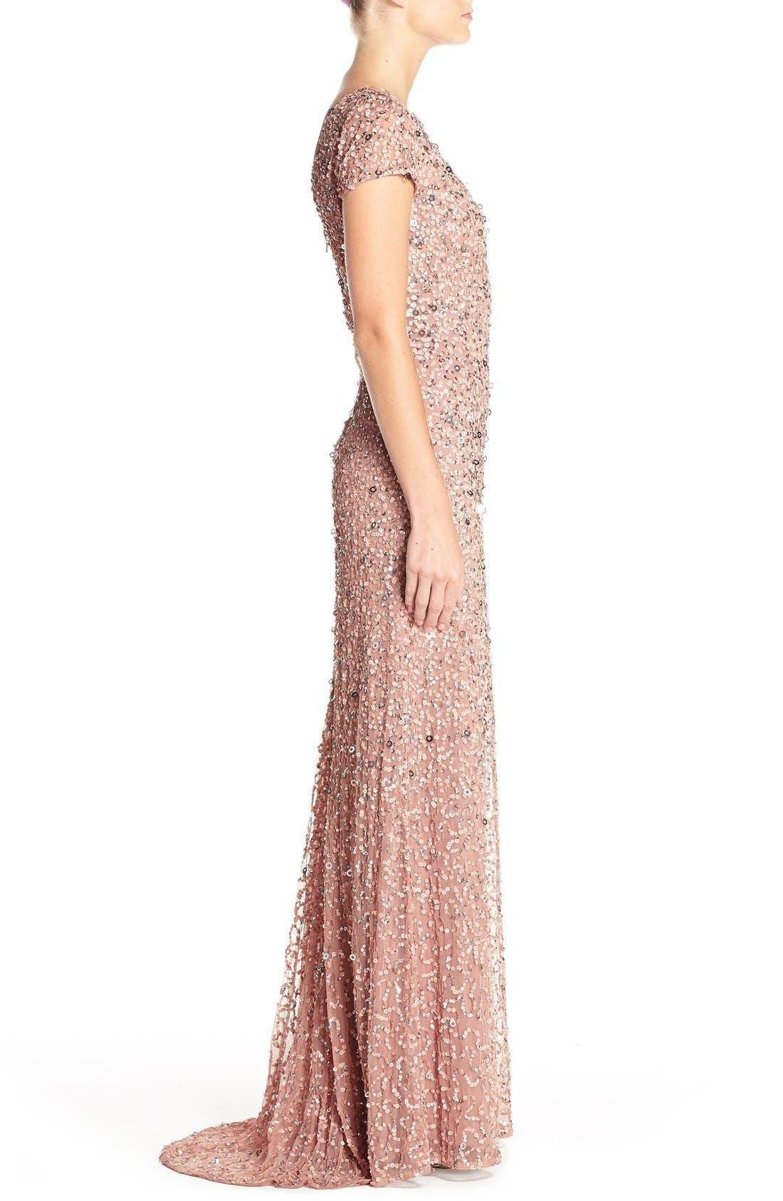 ,                             Short Sleeve Sequin Mesh Gown,                             Alternate thumbnail 59, color,                             691