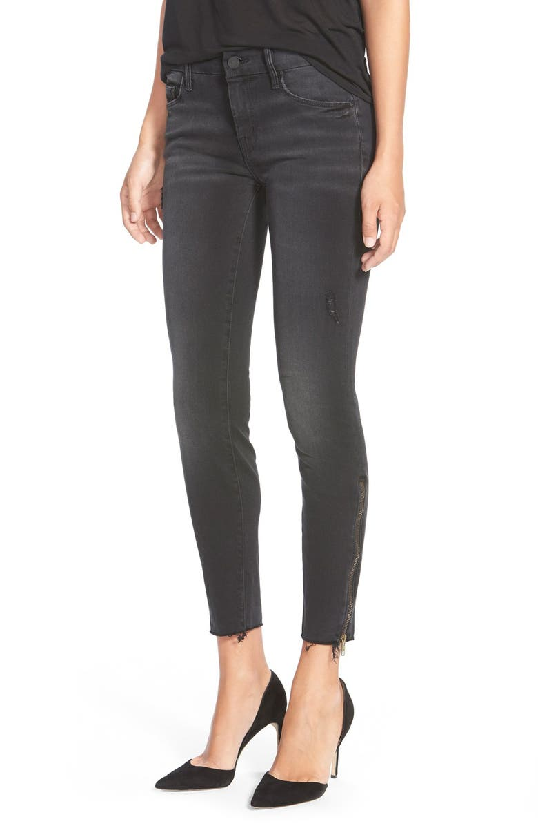 MOTHER 'The Looker' Frayed Ankle Jeans, Main, color, 001