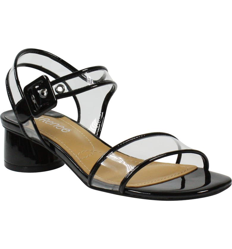 J. RENEÉ J.Renée Florencio Sandal, Main, color, BLACK FAUX PATENT/ CLEAR