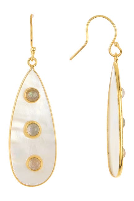 Image of Forever Creations USA Inc. Gold Vermeil Sterling Silver Labradorite & Mother of Pearl Drop Earrings