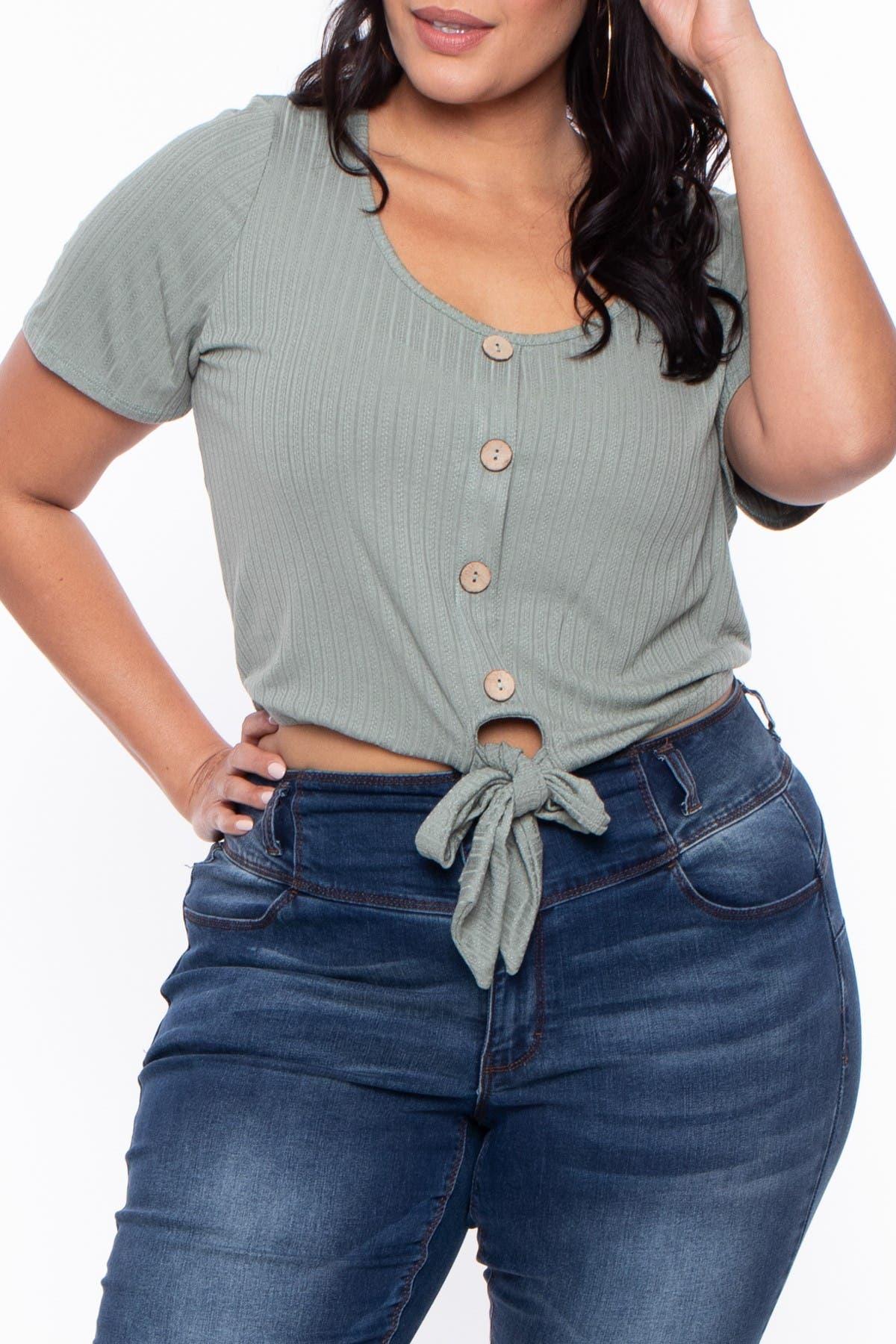 Image of Curvy Sense Button Front Tie Hem Top
