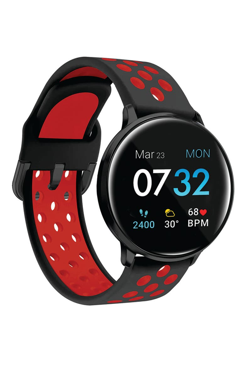 I TOUCH Sport 3 Black Case Black/Red Perforated Strap Touchscreen Smartwatch, 45mm, Main, color, BLACK/RED