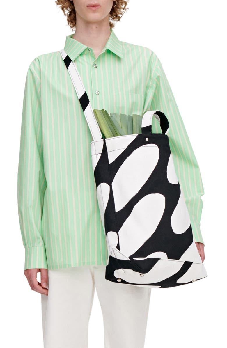 MARIMEKKO Unisex Jokapoika Piccolo Stripe Cotton Button-Up Shirt, Main, color, GREEN, BEIGE