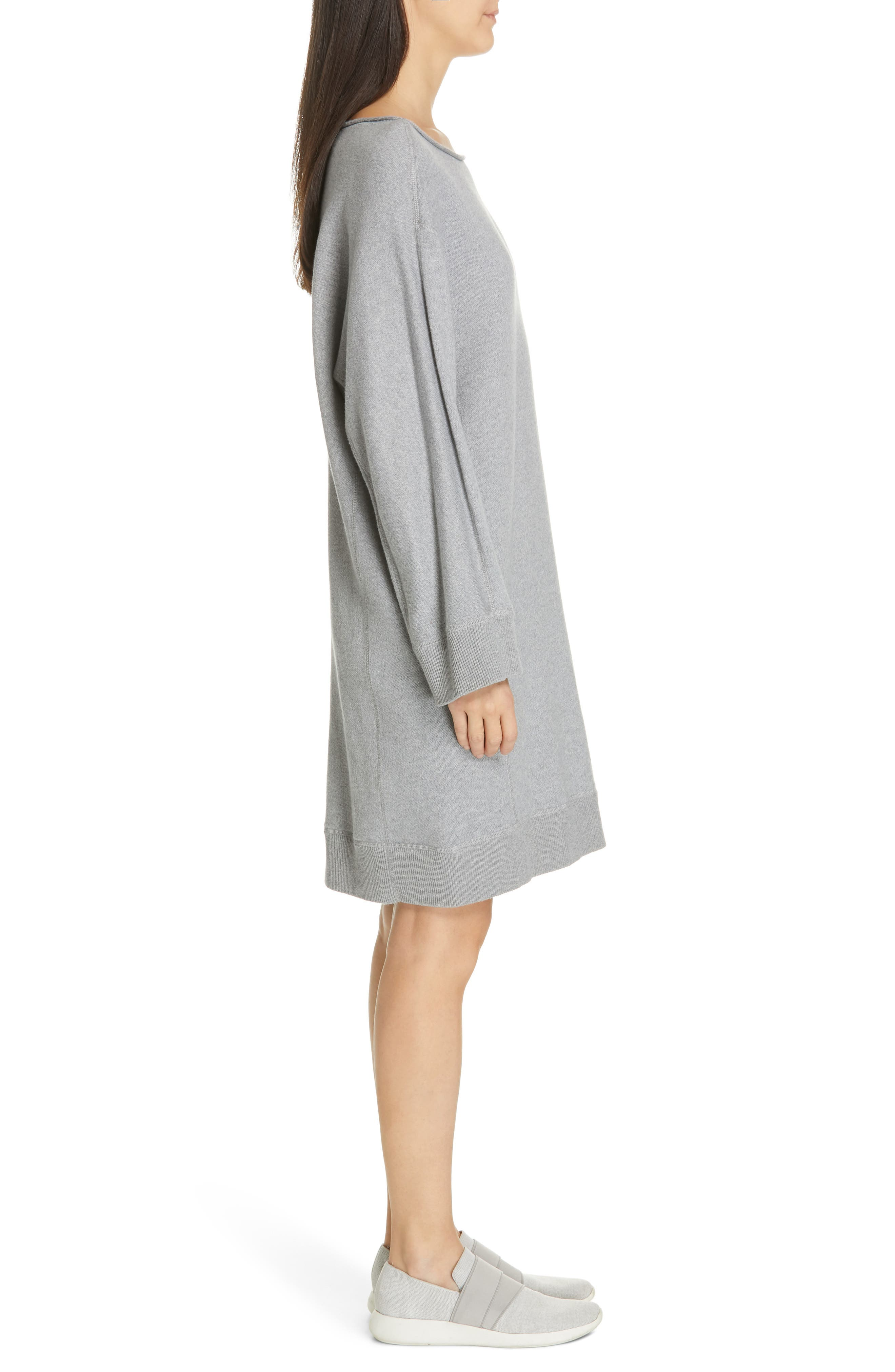 ,                             Cotton Terry Shift Dress,                             Alternate thumbnail 4, color,                             H STEEL