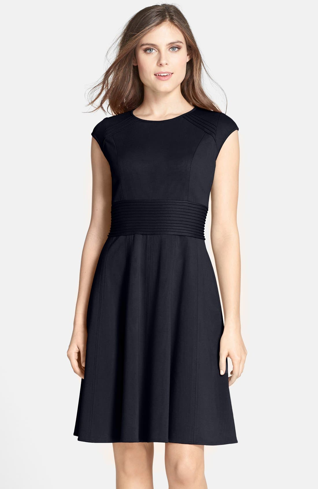 ,                             Pintucked Waist Seamed Ponte Knit Fit & Flare Dress,                             Main thumbnail 18, color,                             410
