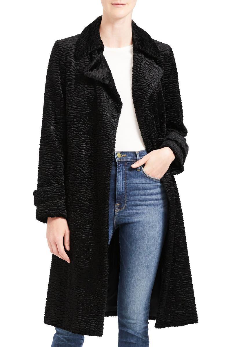 THEORY Faux Fur Coat, Main, color, 001