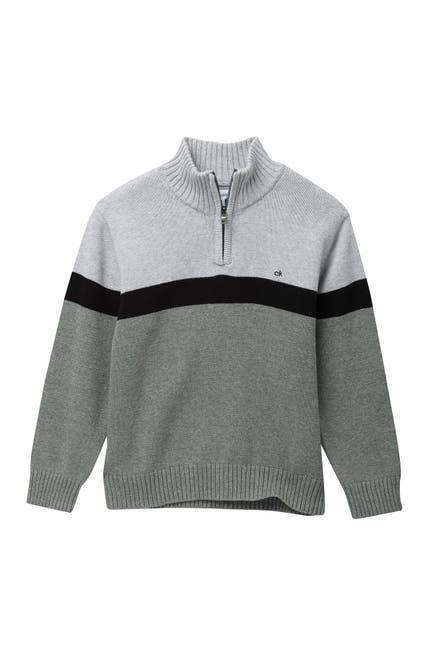 Image of Calvin Klein Chest Stripe Half Zip Sweater