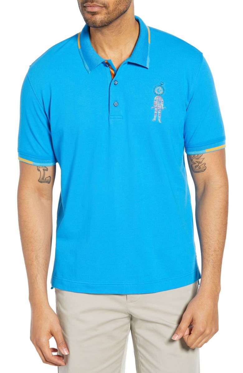 ROBERT GRAHAM Watch Me Classic Fit Piqué Polo, Main, color, BLUE