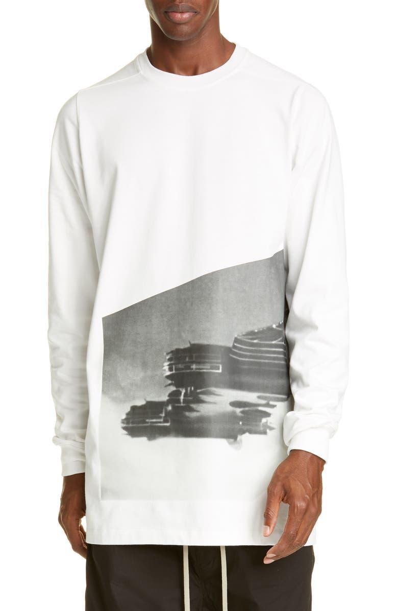 RICK OWENS Jumbo Baeh5 Long Sleeve Longline T-Shirt, Main, color, MILK
