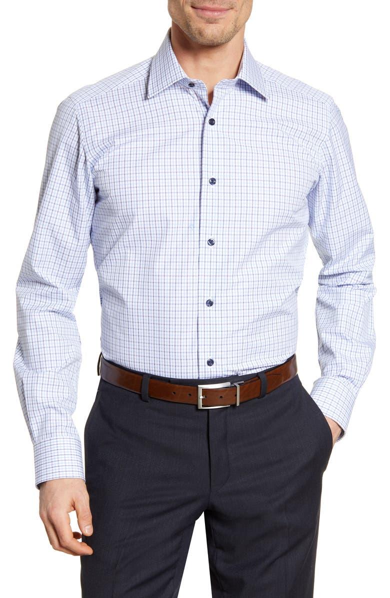 DAVID DONAHUE Trim Fit Check Dress Shirt, Main, color, WHITE/ BLUE