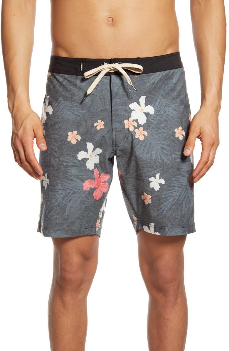 LINKSOUL Floral Print Board Shorts, Main, color, 001