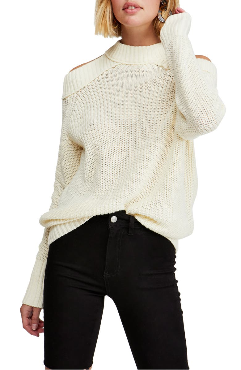FREE PEOPLE Half Moon Bay Cold Shoulder Sweater, Main, color, IVORY