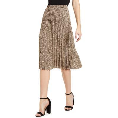 Gibson Print Pleated Midi Skirt, Beige