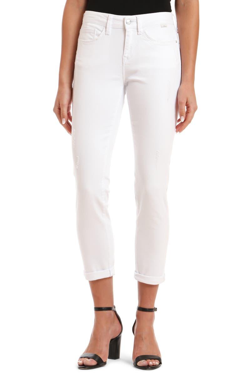 MAVI JEANS Ada Distressed Skinny Jeans, Main, color, WHITE RIPPED STR