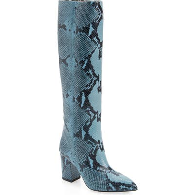 Paris Texas Python Embossed Knee High Boots, Blue