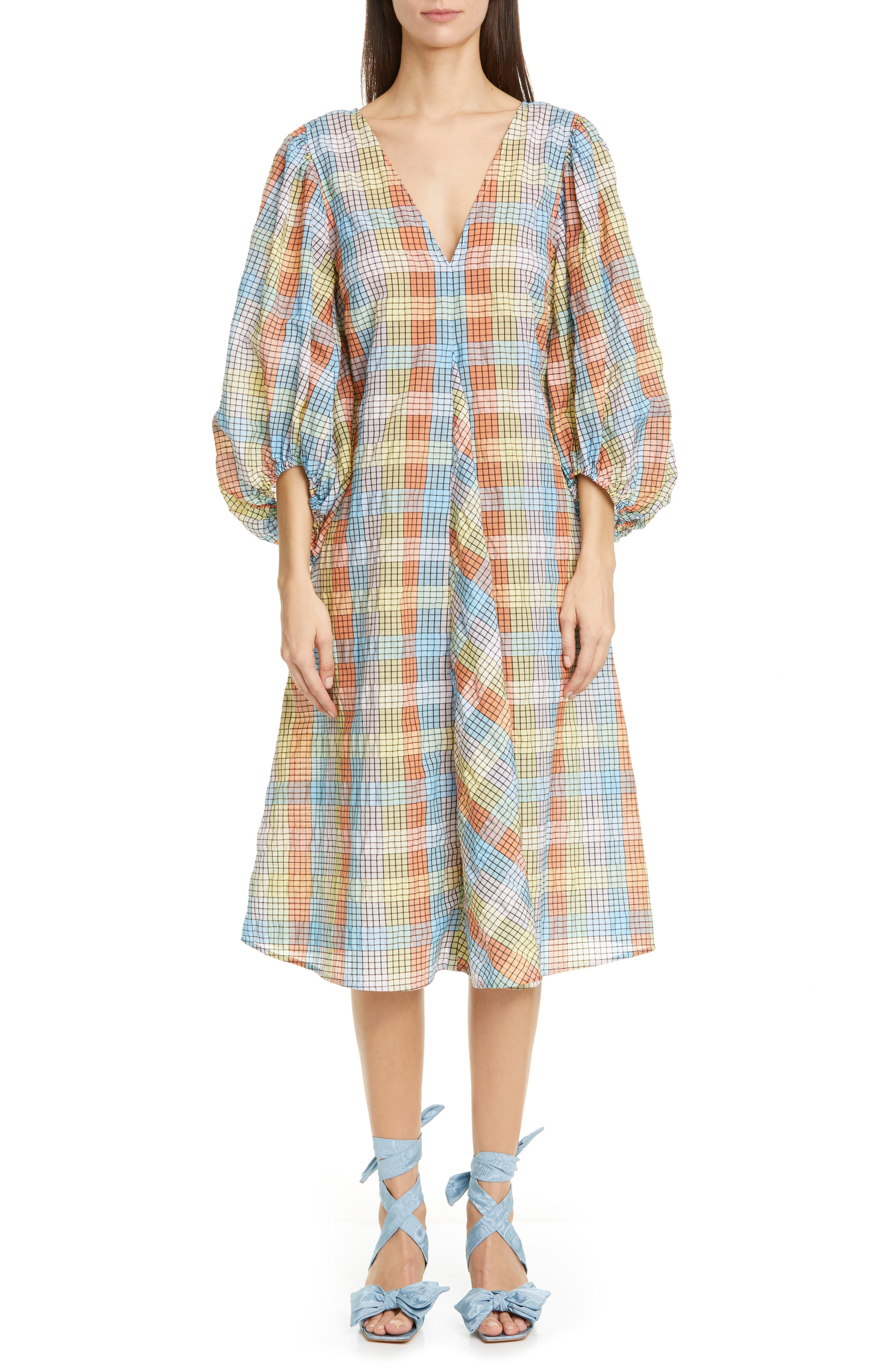 Image of GANNI Plaid Balloon Sleeve Midi Dress