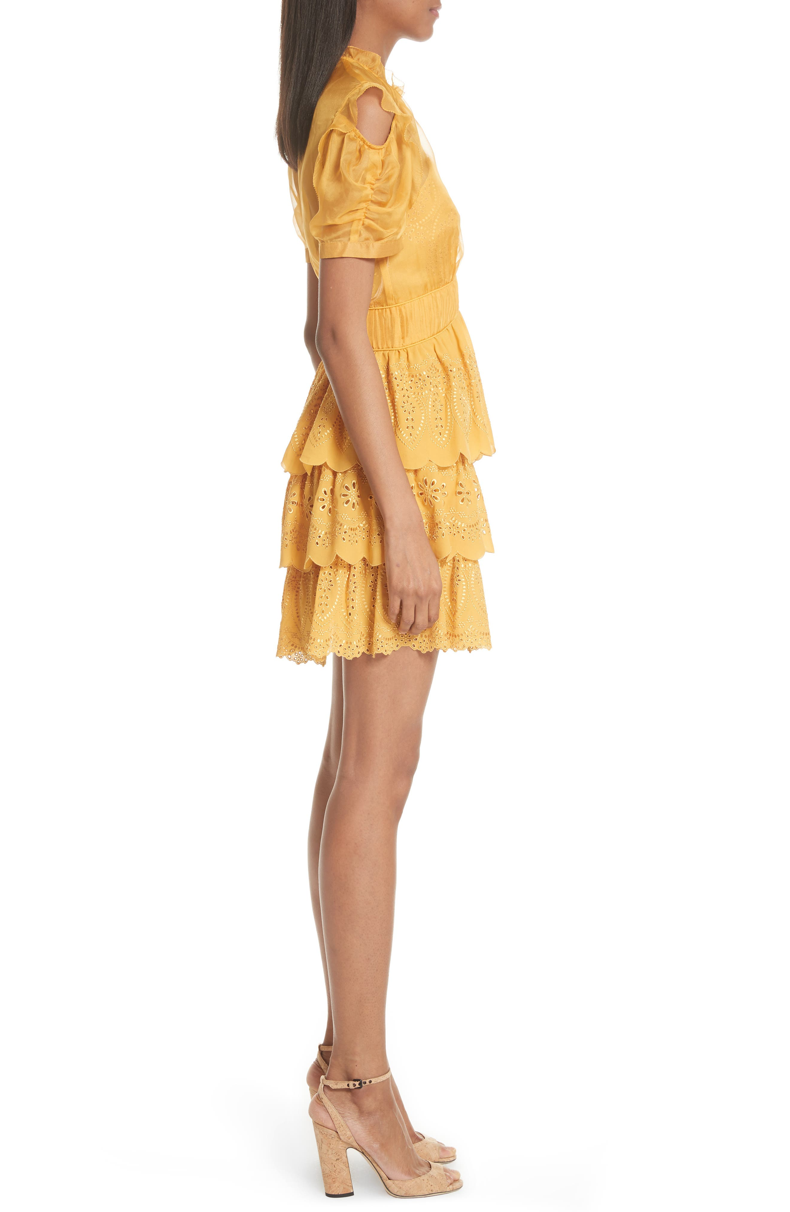 ,                             Chiffon & Broderie Anglaise Dress,                             Alternate thumbnail 4, color,                             700