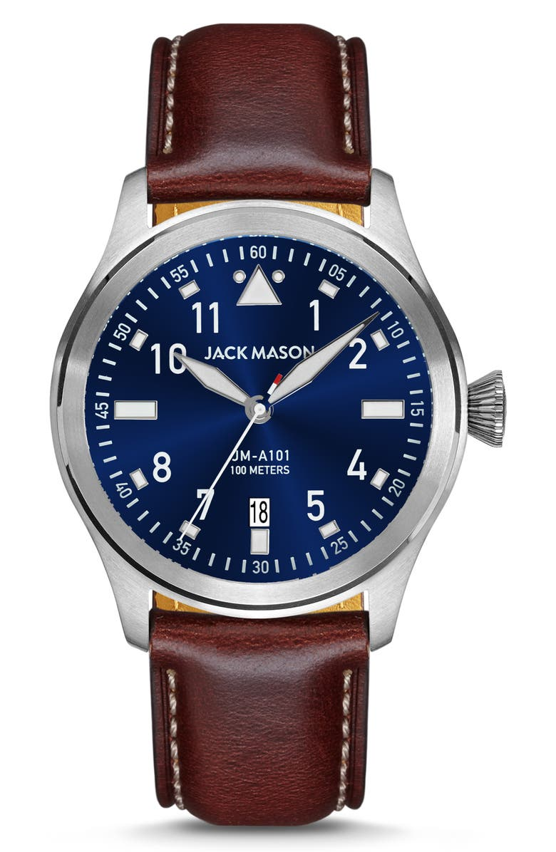 JACK MASON Aviation Leather Strap Watch, 42mm, Main, color, BROWN