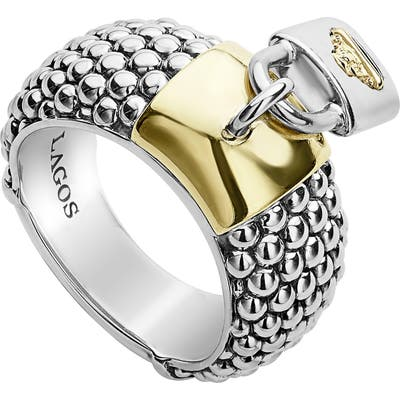 Lagos Beloved Lock Charm Band Ring