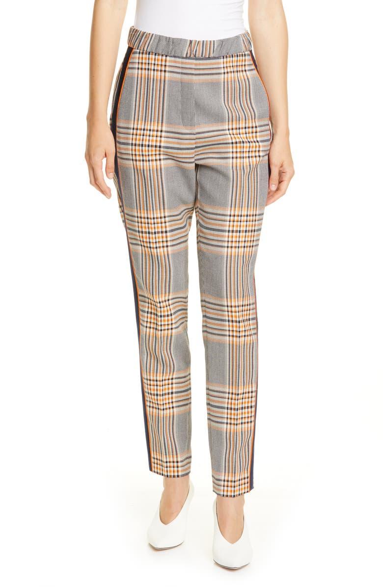 HUGO Herani Windowpane Plaid Side Stripe Suit Pants, Main, color, CHROME PLAID