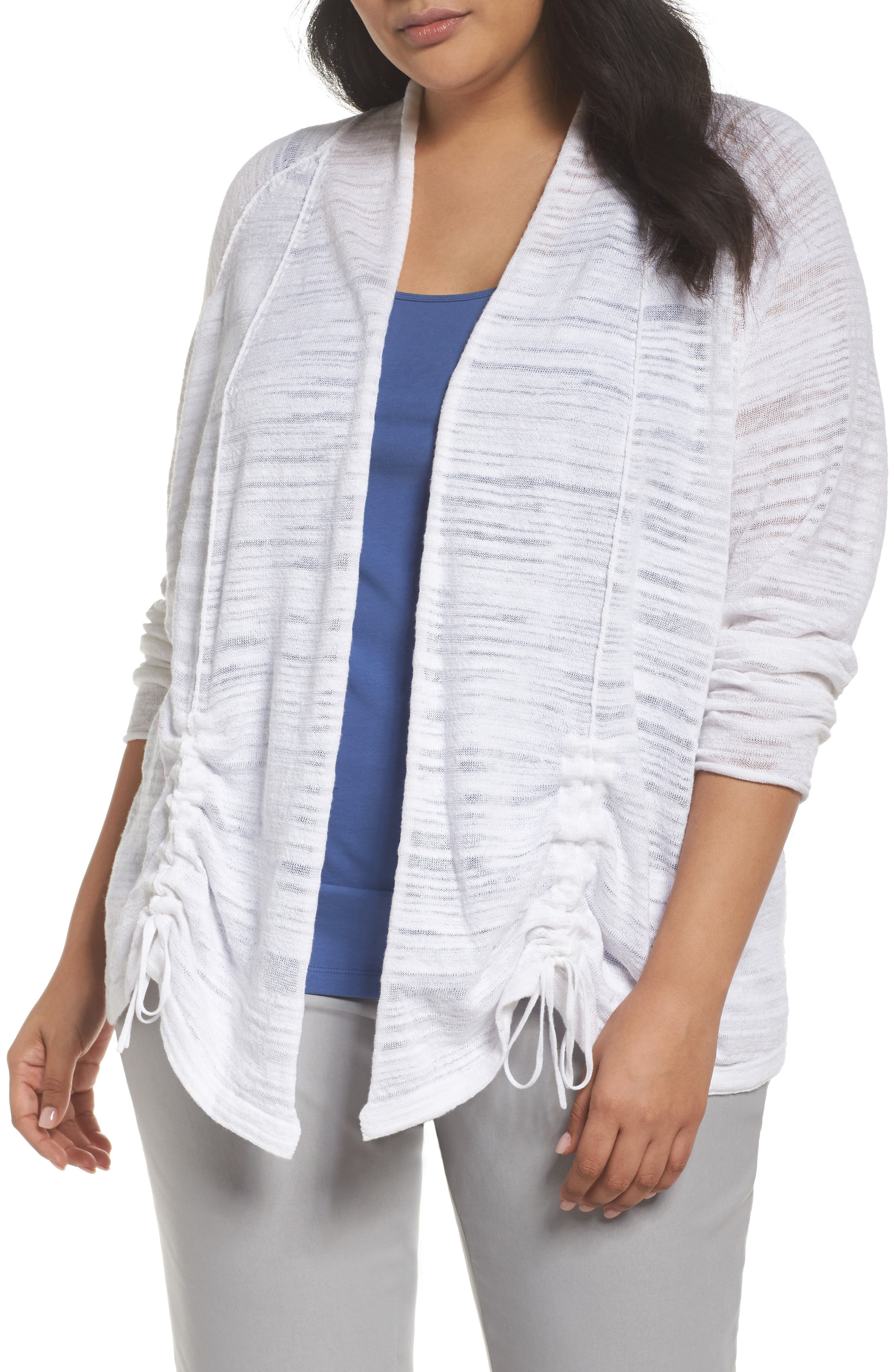 Subtle shading, seaming and tie-tipped ruching add delightful detail to an everyday cardigan that pairs perfectly with denim. Style Name: Nic+Zoe Sand Dune Ruched Sleeve Cardigan (Plus Size). Style Number: 5539413. Available in stores.