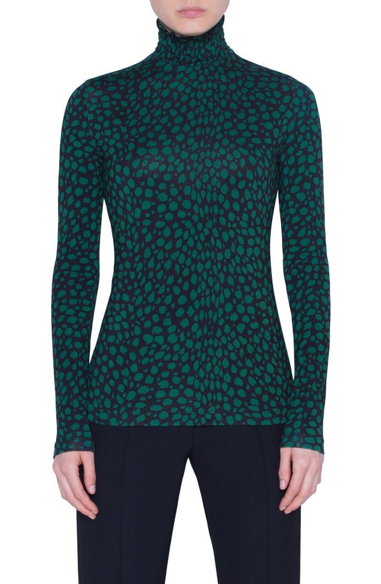AKRIS PUNTO Animal Dot Print Jersey Top, Main, color, BLACK/ EMERLAD