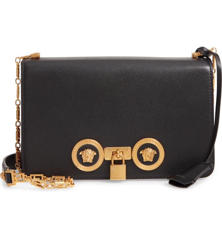 VERSACE Medium Icon Leather Shoulder Bag, Main, color, BLACK/ TRIBUTE GOLD