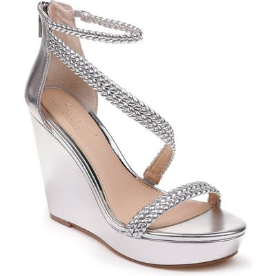 Jewel Badgley Mischka Suzy Wedge Platform Sandal- Metallic