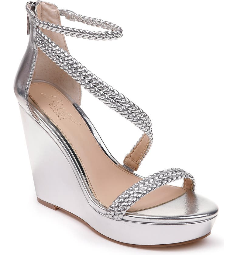 JEWEL BADGLEY MISCHKA Suzy Wedge Platform Sandal, Main, color, SILVER LEATHER