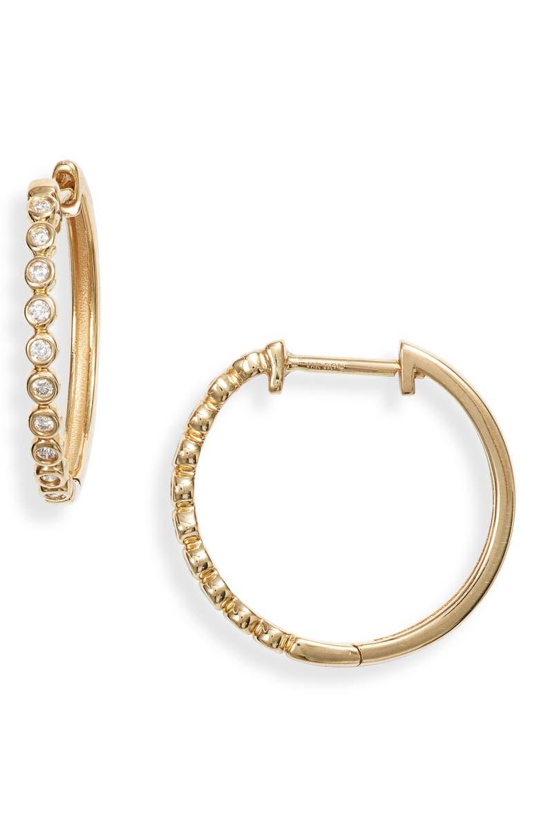 BONY LEVY Monaco Beaded Diamond Hoop Earrings, Main, color, YELLOW GOLD/ DIAMOND