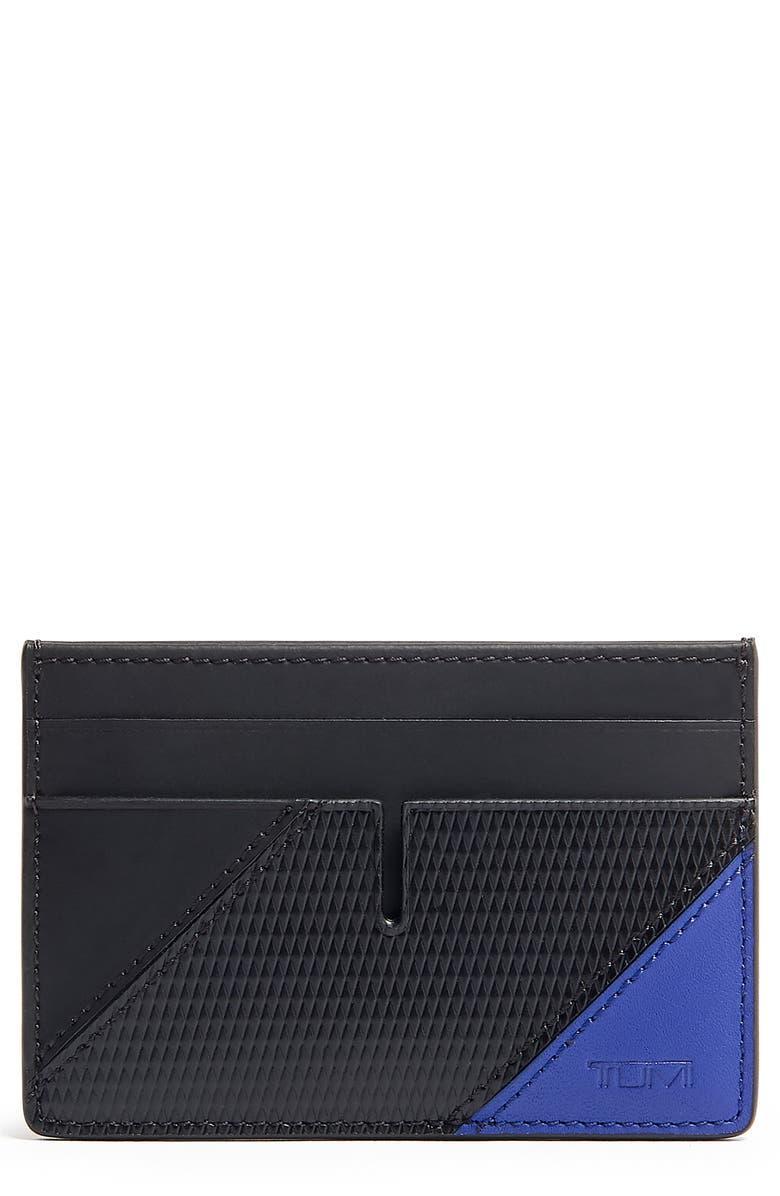 TUMI Nassau Leather Money Clip Card Case, Main, color, BLUE PIECED