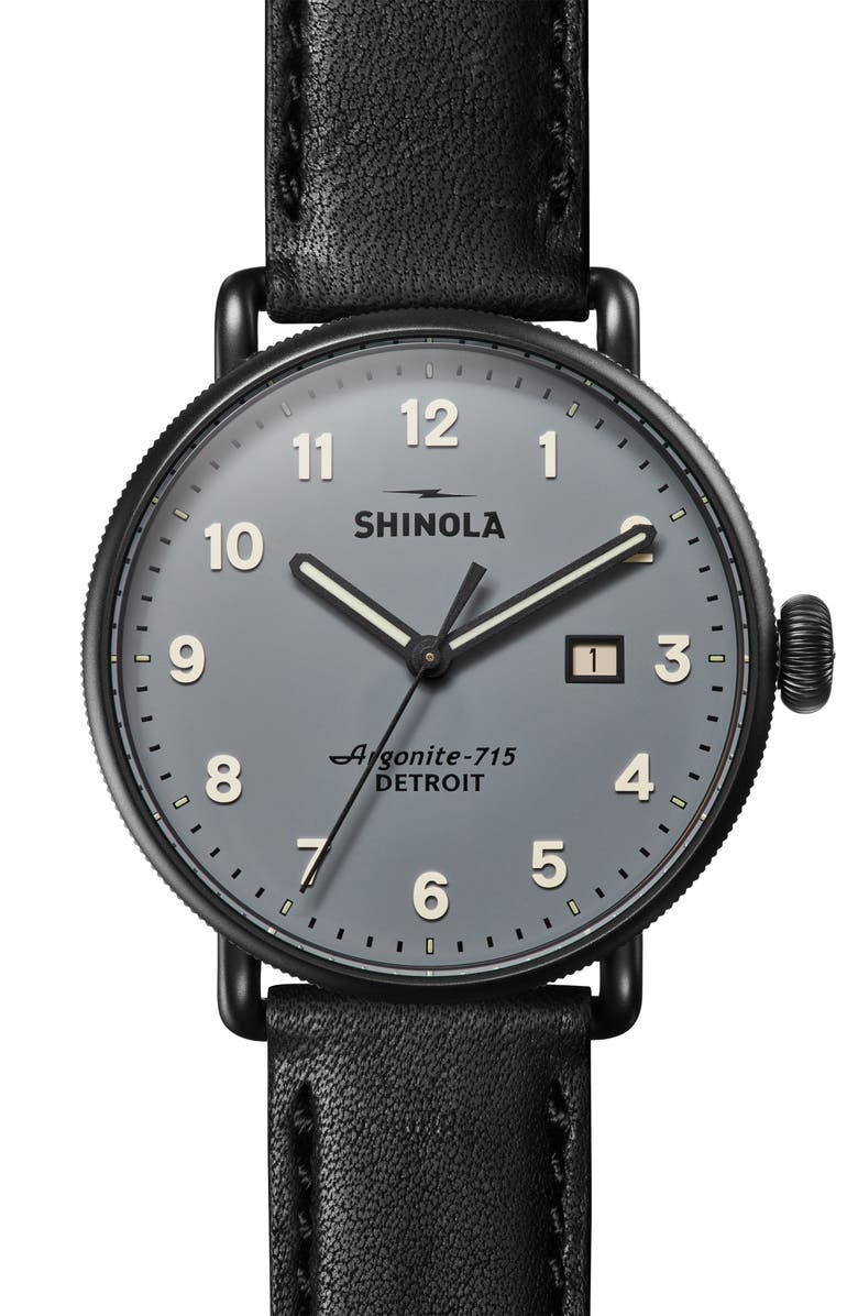 SHINOLA The Canfield Leather Strap Watch, 43mm, Main, color, BLACK/ GREY/ BLACK