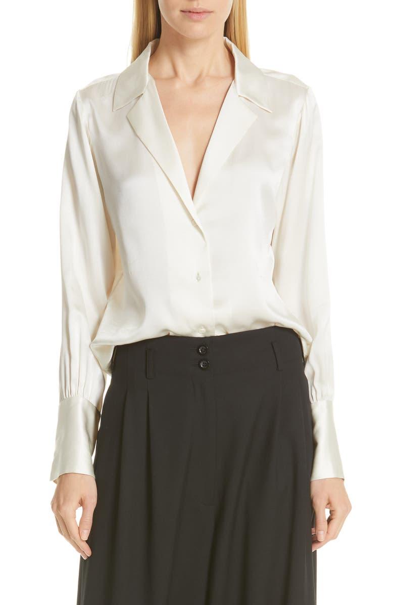 NILI LOTAN Emmen Silk Shirt, Main, color, IVORY