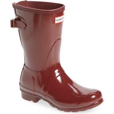 Hunter Original Short Adjustable Back Gloss Waterproof Rain Boot, Red