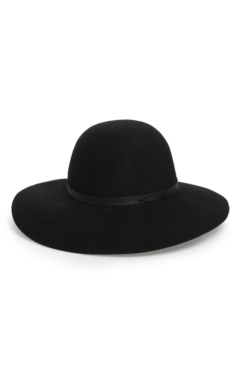 NORDSTROM Refined Floppy Wool Felt Hat, Main, color, BLACK