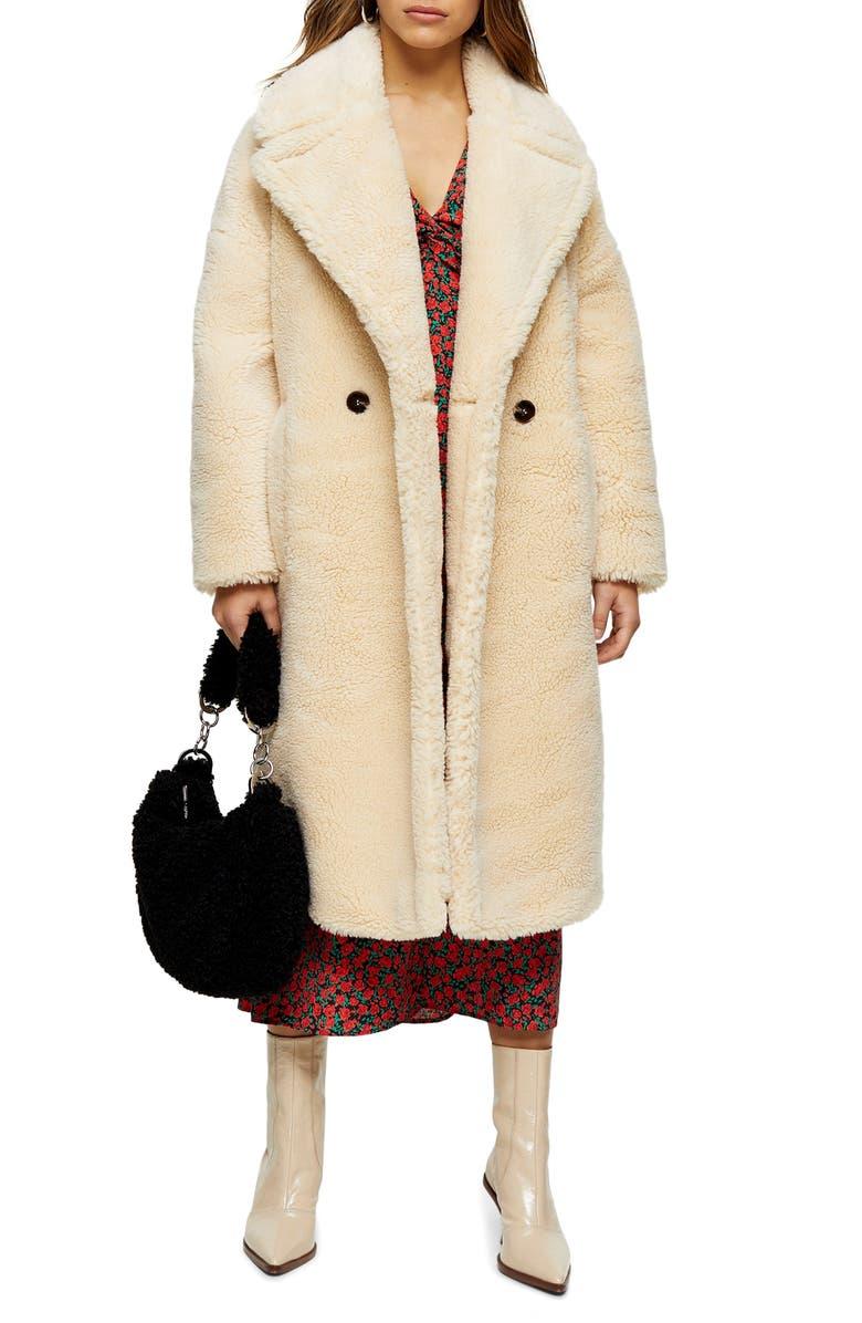 TOPSHOP Whinnie Borg Maxi Coat, Main, color, CREAM