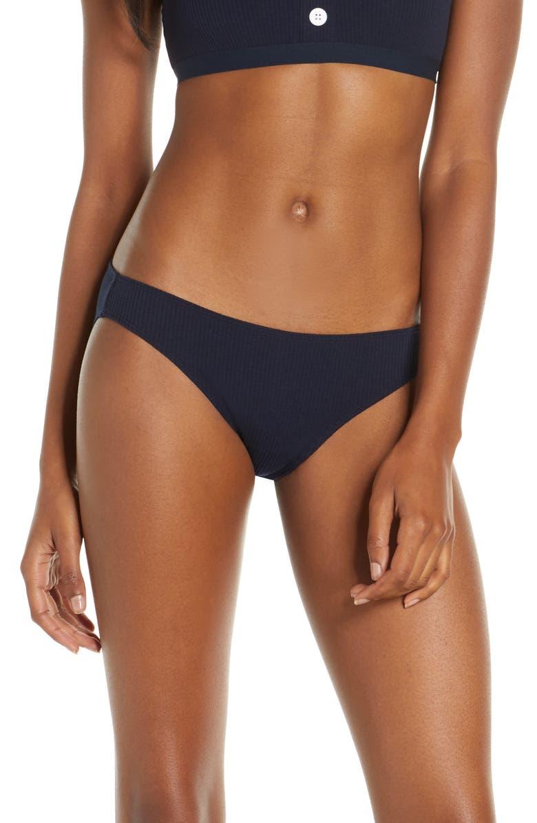 MADEWELL Cotton Rib Bikini, Main, color, DEEP INDIGO
